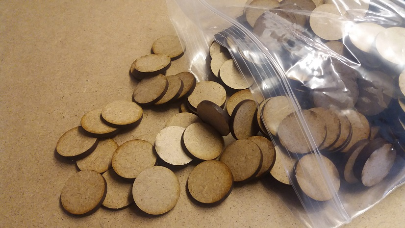 100 25mm 3mm MDF  round bases