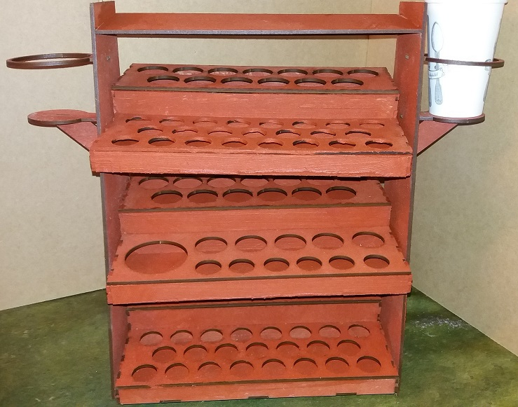Paint stand with 3 trays